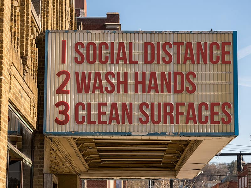 Echelon Health - advice on Covid-19 - Social Distance Wash Hands Clean Surfaces