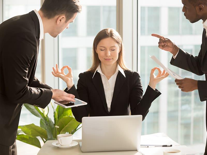 Echelon Health - stress blog - corporate health assessment -lady having zen moment